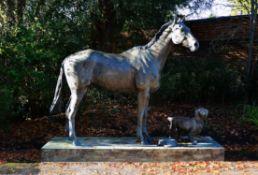 λ Caroline Wallace (British), an impressive patinated bronze model of a race horse