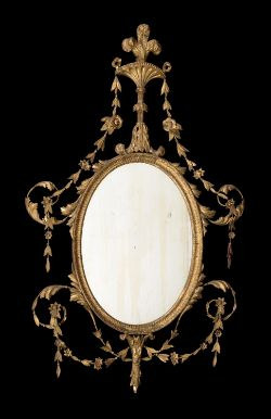 A pair of George III carved giltwood and gesso wall mirrors