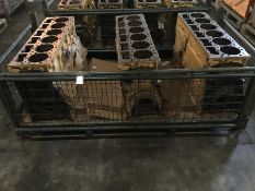 Stillage containing qty 3 Caterpillar 3406E 6cyl Bare block Serial 1DZ09772,Serial 1DZ12991 Serial