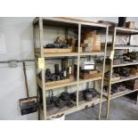 LOT SHELF W/CONTENTS TO INCLUDE CASTERS, MISC. STEEL FIXTURES