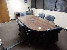 WOOD CONFERENCE TABLE, 4' X 8', (6) CHAIRS