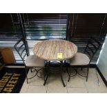 """DINETTE TABLE, (2) CHAIRS, 36"""" DIA."""