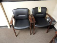 LOT (2) OFFICE CHAIRS, LEATHER, WOOD FRAME