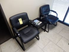 LOT (2) LEATHER OFFICE CHAIRS W/WOOD END TABLE