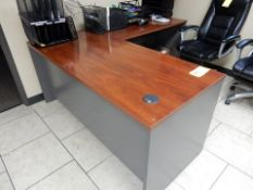 FORMICA TOP OFFICE DESK, NO DRAWERS, W/R-HAND RETURN