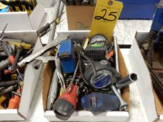 LOT MISC. HAND TOOLS - TAPE MEASURES, FLASH LIGHTS, PLIERS, VISE GRIPS