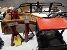 LOT JACK STANDS, VEHICLE RAMPS, MECHANICS ROLLER SEAT, 12 TON HYD. JACK