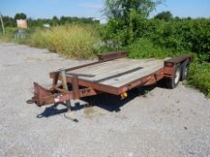 SOLD BY PHOTO - BELSHE UTILITY TRAILER, 18', WOOD DECK, PINTLE HITCH
