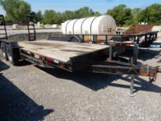 UTILITY TRAILER, 21', WOOD DECK, TANDEM AXLE, RAMPS, BUMPER PULL (NO TITLE)