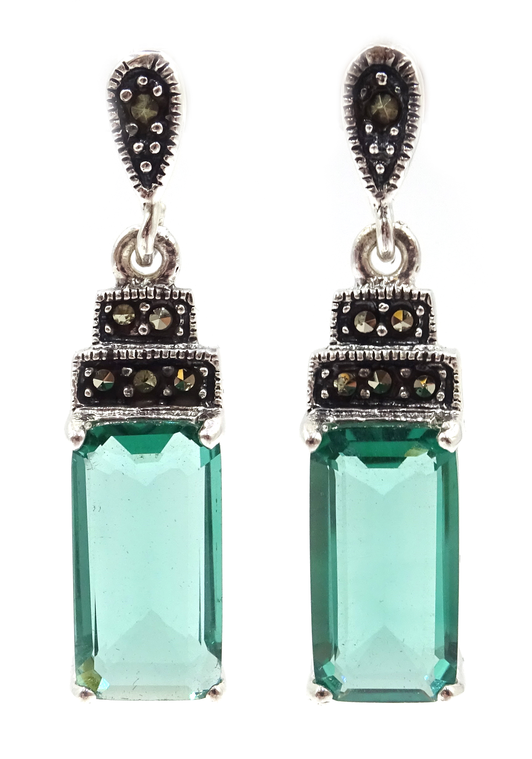Lot 1021 - Pair of silver marcasite and stone set pendant earrings,