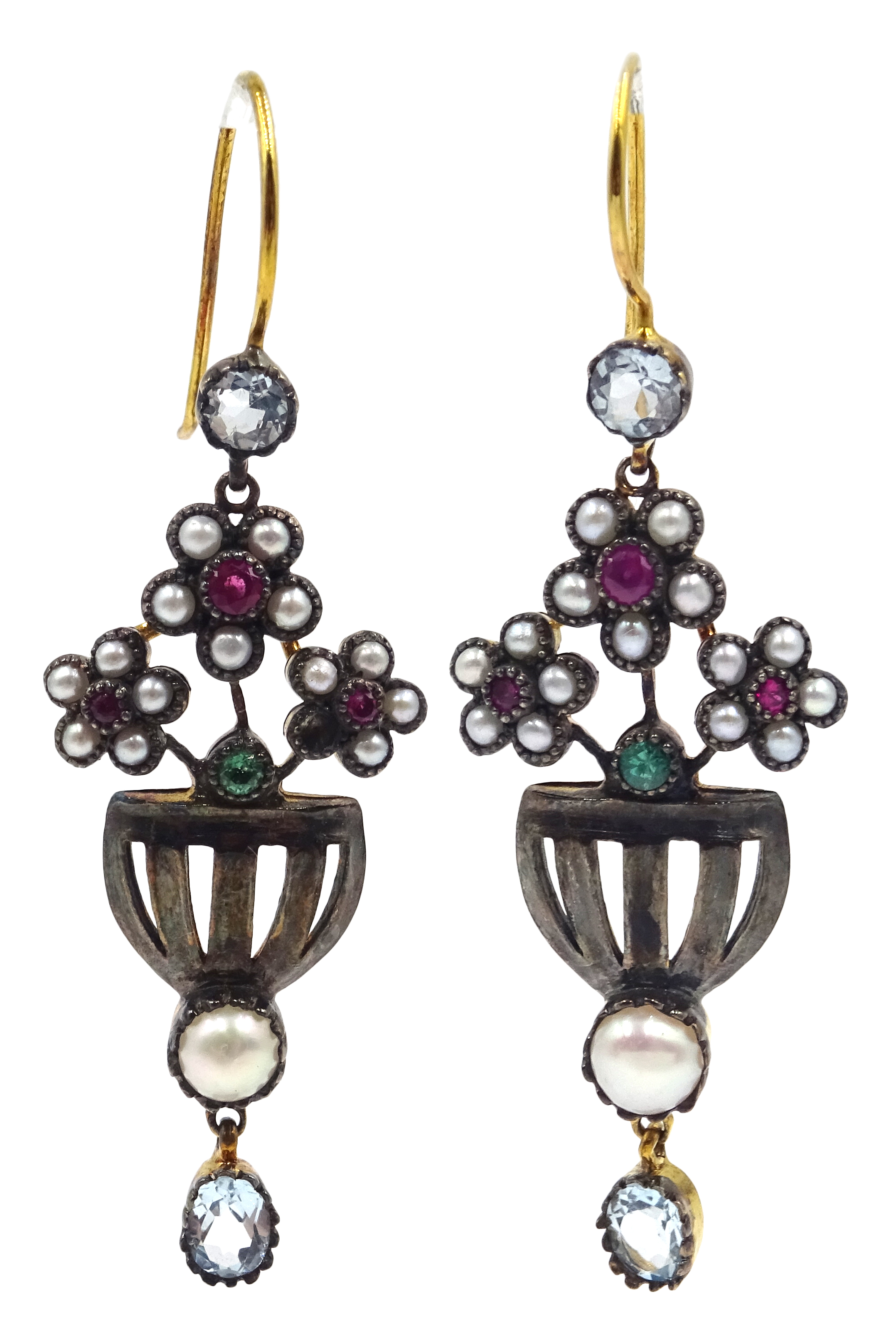 Lot 1005 - Pair of ruby, seed pearl,