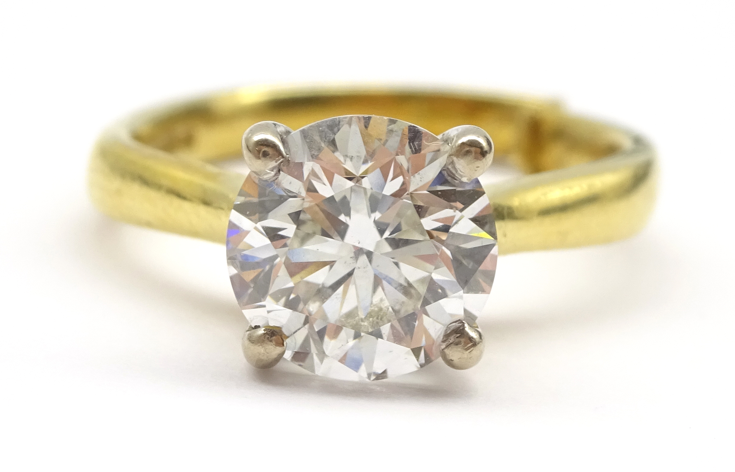 Lot 1007 - 18ct gold single stone diamond ring hallmarked, diamond approx 1.