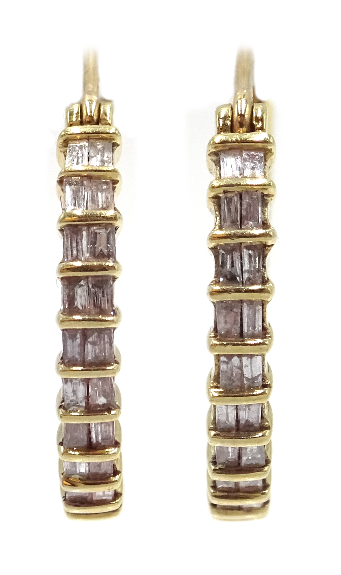 Lot 1018 - Pair of 9ct gold diamond set hoop earrings,