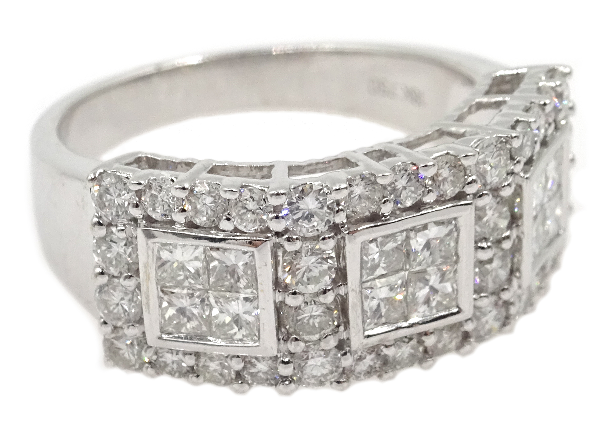 Lot 1017 - 18ct white gold princess cut and round brilliant cut diamond ring hallmarked,