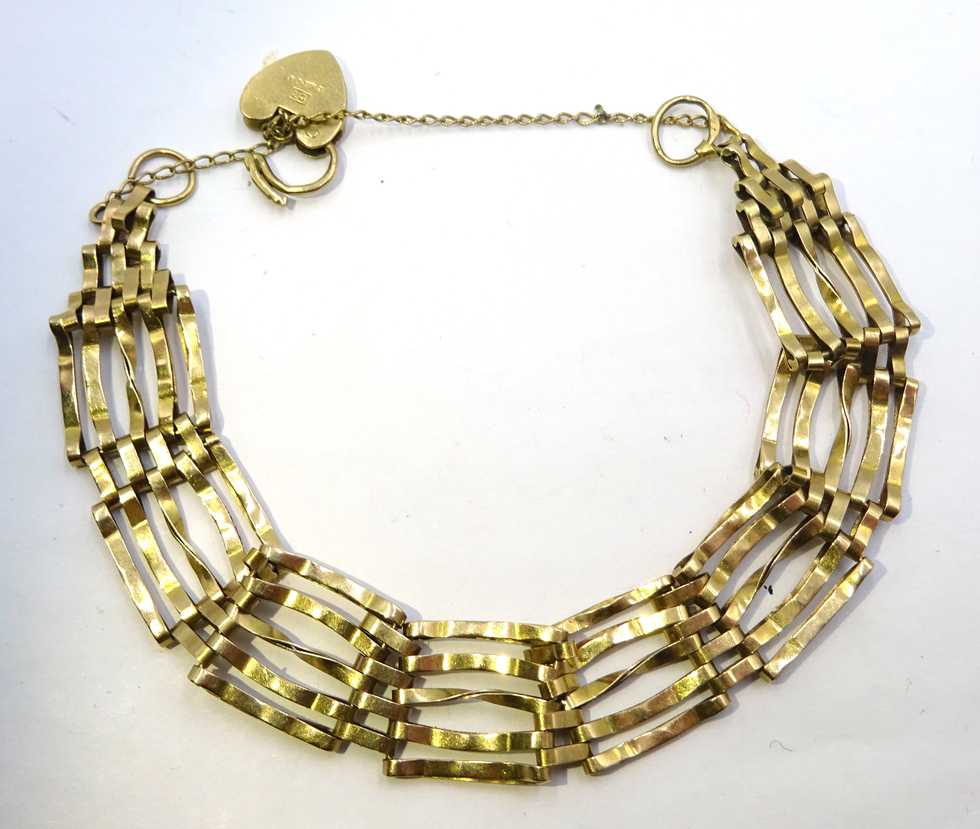 Lot 1014 - 9ct gold five bar link bracelet, hallmarked, approx 8.