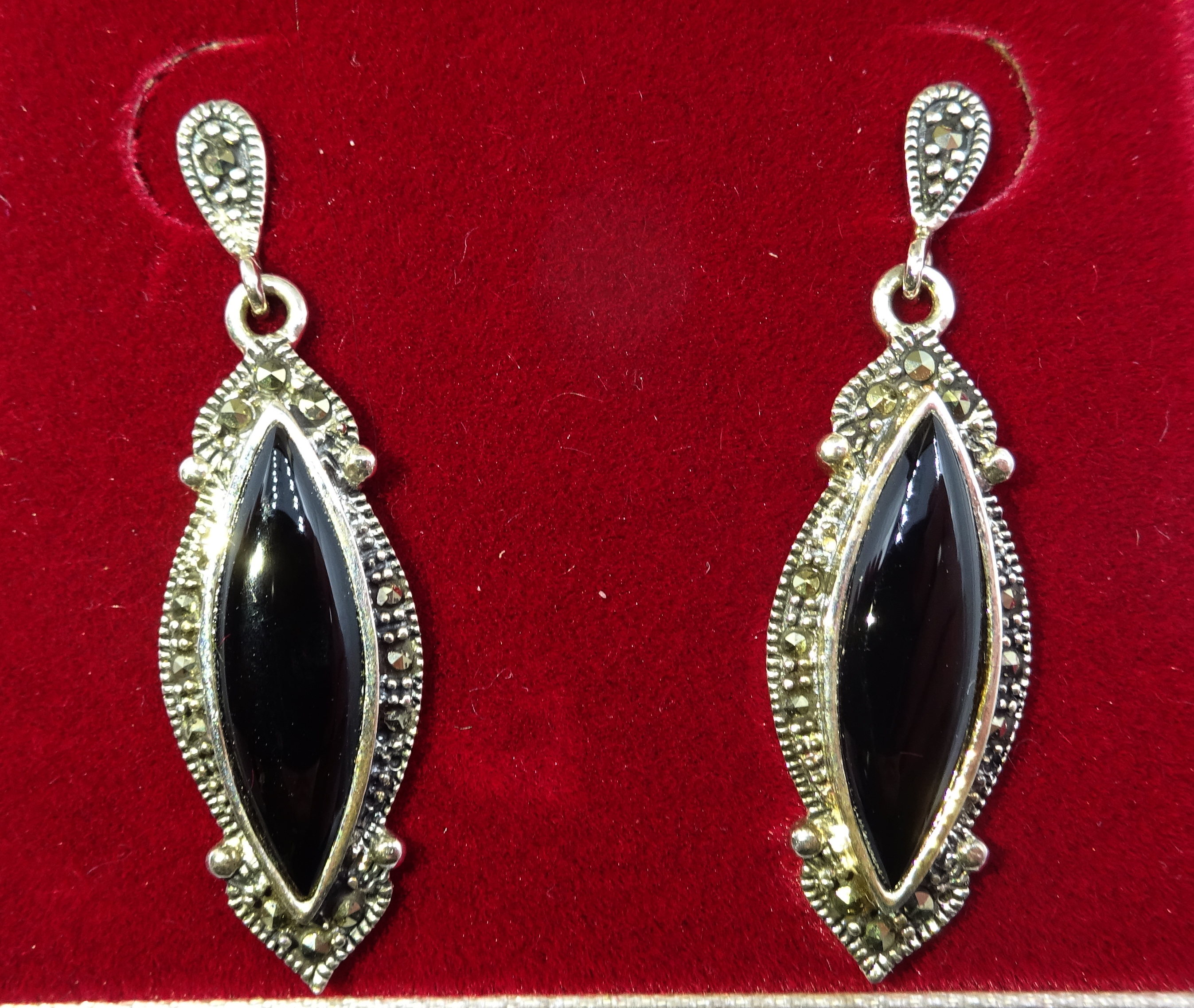 Lot 1033 - Silver black onyx and marcasite pendant earrings,
