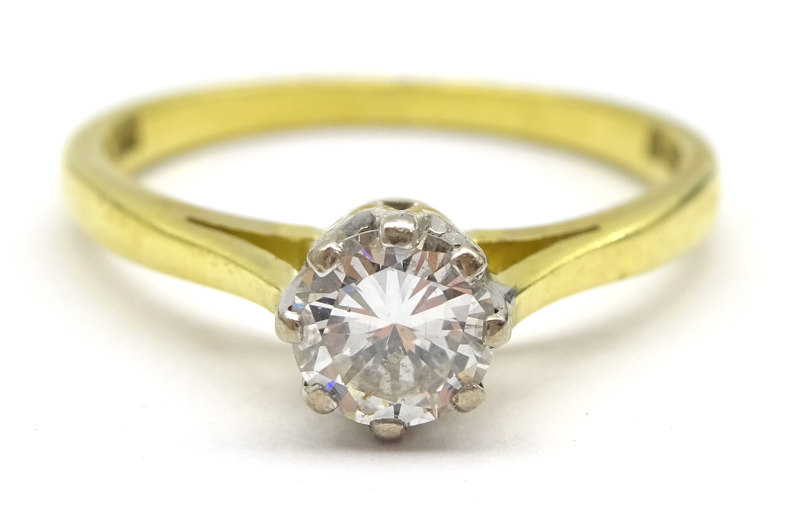 Lot 1010 - 18ct gold single stone diamond ring hallmarked, diamond approx 0.