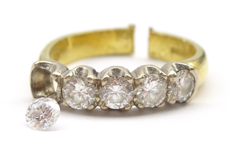 Lot 1020 - 18ct gold five stone diamond ring,