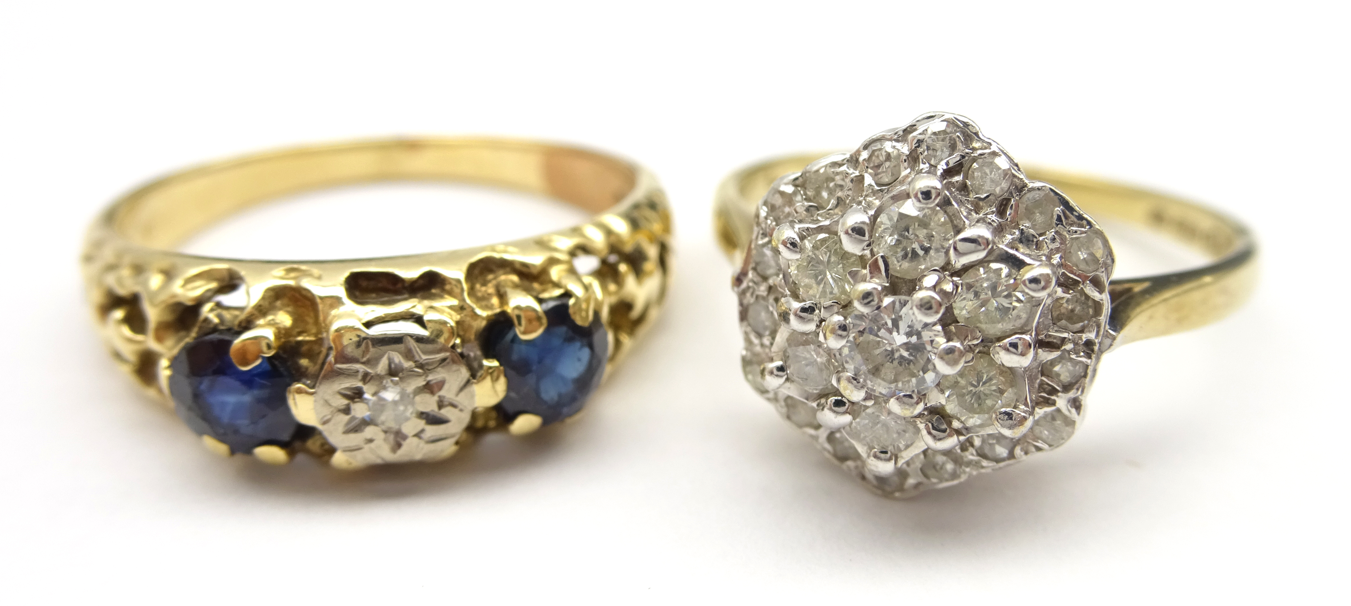 Lot 1058 - 9ct gold diamond cluster ring hallmarked and a 9ct gold (tested) three stone diamond and sapphire