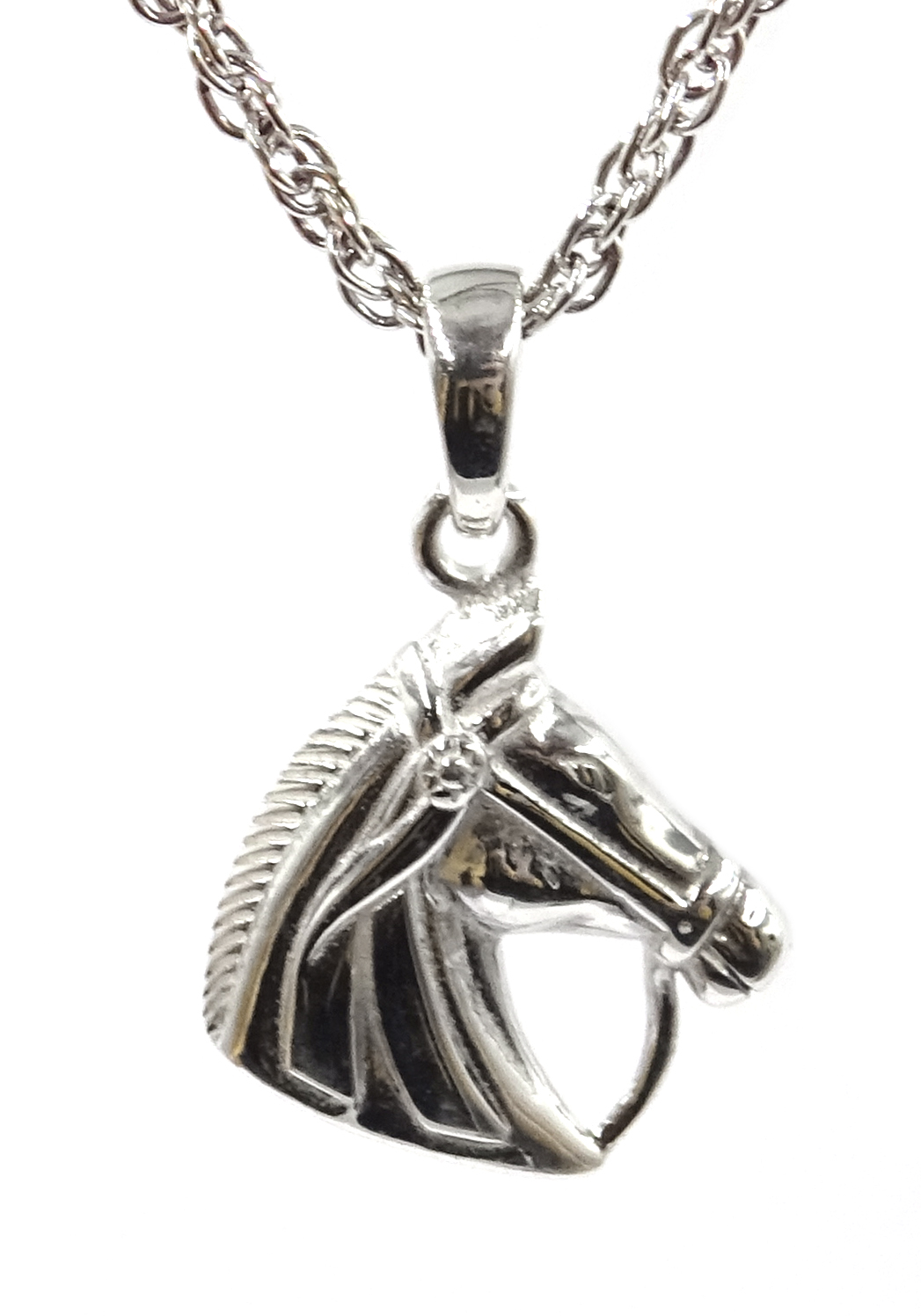 Lot 1056 - Silver horses head pendant necklace,