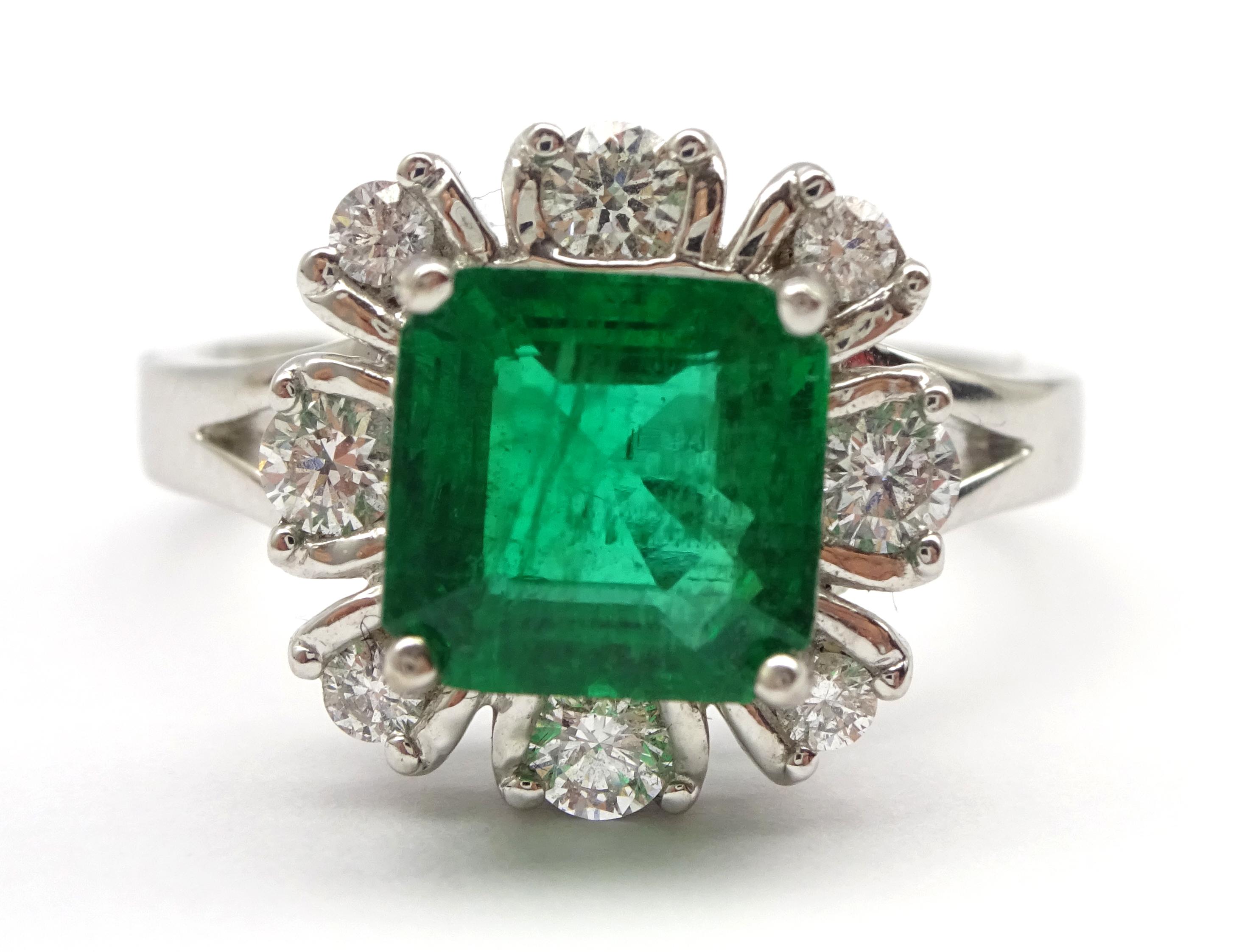 Lot 1004 - 18ct white gold fine emerald and diamond cluster ring hallmarked, emerald 1.