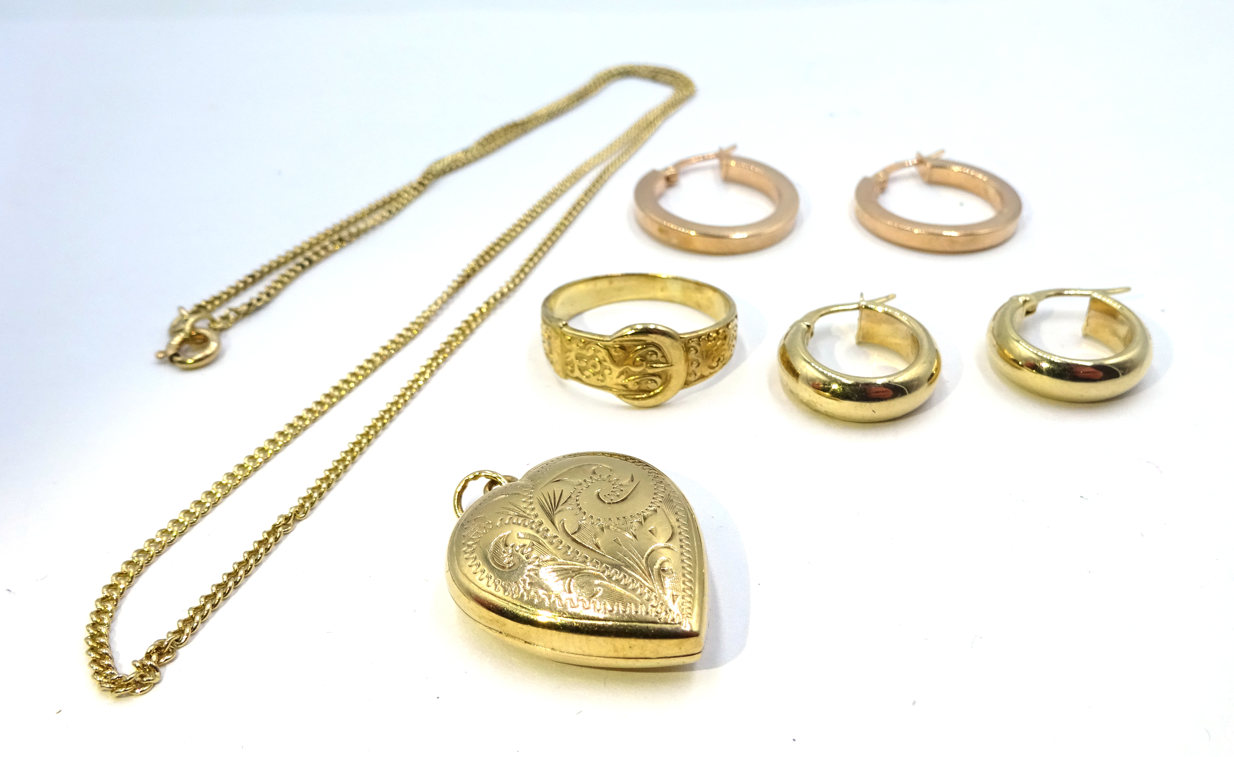 Lot 1029 - Two pairs of 9ct gold hoop earrings, 9ct gold ring and 9ct gold pendant necklace,