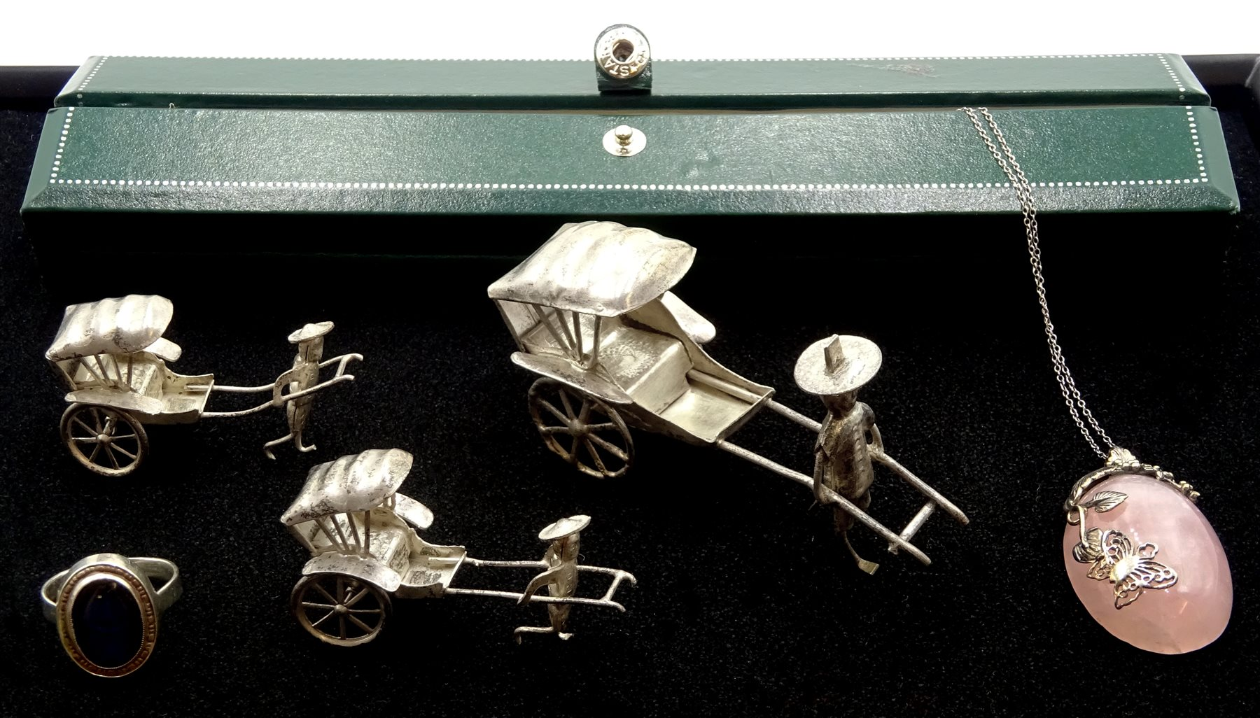 Lot 1063 - Silver rose quartz pendant necklace, three silver graduating Chinese rickshaws, silver glass set rin