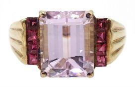 9ct gold kunzite ring, hallmarked