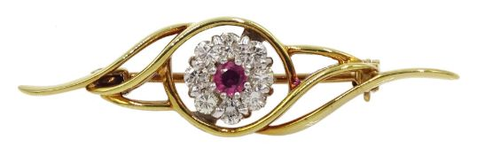 18ct gold ruby and diamond cluster brooch