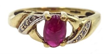 9ct gold cabochon ruby and diamond ring, hallmarked