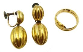 Gold snake ring stamped 15. 625 and a pair of Victorian 19ct gold pendant screw back earrings