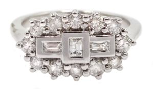 18ct white gold brilliant cut and baguette cut diamond cluster ring, hallmarked, diamond total weigh