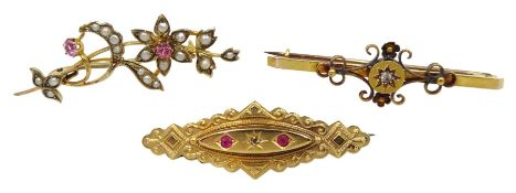 Edwardian 15ct gold diamond set brooch and gold pearl and stone set flower brooch and one other ston