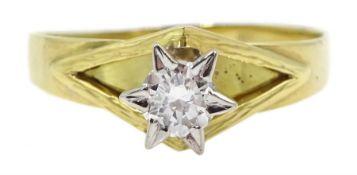 14ct gold round brilliant cut diamond ring, stamped 585, diamond approx 0.25 carat