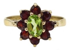 9ct gold peridot and garnet cluster ring, hallmarked