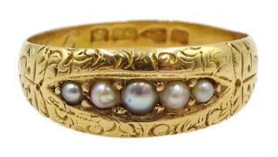 Victorian 18ct gold five stone pearl ring, Chester 1888