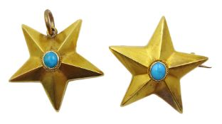 Victorian 18ct gold star brooch and matching 21ct gold pendant, both set with single cabochon turquo