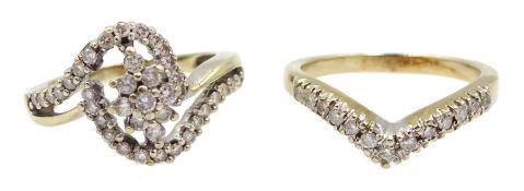 14ct gold diamond swirl design cluster ring and a 10ct gold diamond wishbone ring