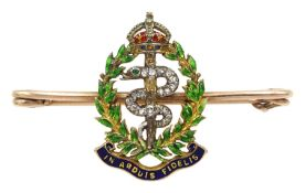 Royal Army Medical Corps gold brooch, enamelled motto 'In Arduis Fidelis', wreath and crown, the ser
