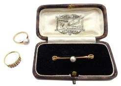 Early 20th century rose gold single pearl ring, gold pearl bar brooch, and three row ruby and pearl