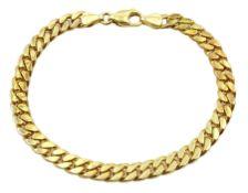 Gold flattened curb link bracelet, stamped 14K, approx 22.41gm