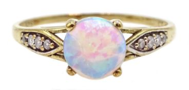 9ct gold opal ring, with cubic zironia shoulders, hallmarked