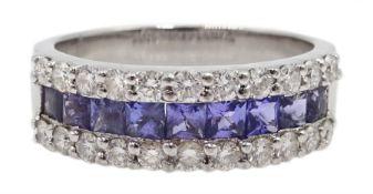 18ct white gold three row diamond and tanzanite half eternity ring, tanzanite total weight approx 1