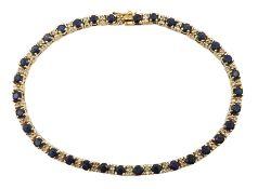 9ct gold sapphire and diamond line bracelet, London import marks 1989