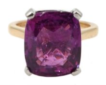 Platinum and 18ct rose gold pink/purple sapphire ring, hallmarked and stamped 950, sapphire 10.08 ca
