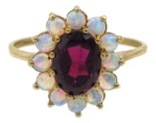 9ct gold garnet and opal cluster ring, hallmarked
