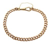 Gold curb link chain bracelet with clip, each link stamped 9 375, approx 16.25gm