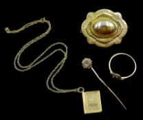 Victorian 15ct gold brooch, gold diamond stick pin, ring and Holy Bible pendant necklace, all 9ct ha