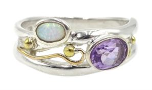 Silver and 14ct gold wire opal and amethyst ring, stamped 925