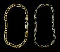 Gold figaro link bracelet, stamped 21K and a 9ct gold link bracelet hallmarked